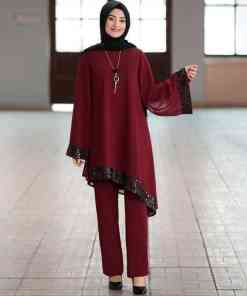 Elegant two pieces muslim sets Worship service robe suits sequined glossy Abaya Robe Tunic Jubah dubai Ramadan robes with lining Women Women's Abaya Women's Clothings