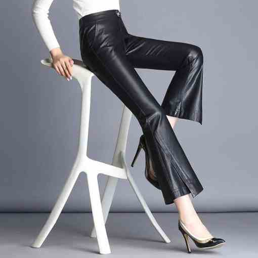 Fashion Brand Ankle-Length sheep leather pants 2020 autumn Women's High package hip Quality Slim Flare Pants wj1163 Women Women's Clothings Women's Dresses