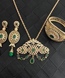 Morocco hot selling wedding jewelry set for women water-drop shape pendant fashion green crystle jewelry necklace/bracelet/earr Women Women's Accessories