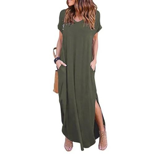 Plus Size 5XL Sexy Women Dress Summer 2020 Solid Casual Short Sleeve Maxi Dress For Women Long Dress Free Shipping Lady Dresses Women Women's Abaya Women's Clothings