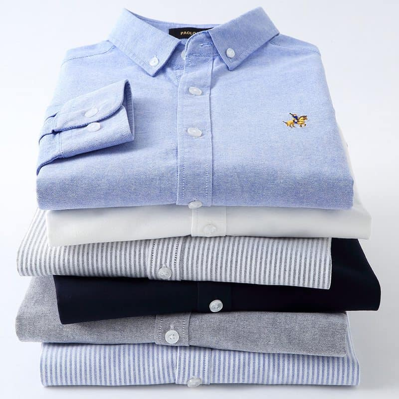 Casual Pure Cotton Oxford Striped Shirts For Men Long Sleeve Embroidery Logo Design Regular Fit Fashion Stylish Men Men's Clothings Men's Shirts Men's Tops