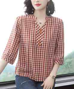 Plus Size Women Spring Summer Style Blouses Shirts Lady Casual Half Sleeve V-Neck Plaid Printed Blusas Tops ZZ0259 Women Women's Blouses Women's Clothings