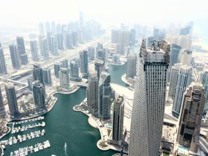 Skyscrapers and developments around the Dubai Marina area are seen from the Princess Tower in Dubai, United Arab Emirates. There are about 234 South African companies doing business in Dubai, including construction firms Grinaker and Murray and Roberts. Photos: Bloomberg