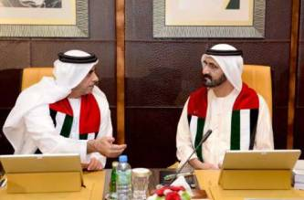 Shaikh Mohammad and Shaikh Saif at the cabinet meeting yesterday. WAM