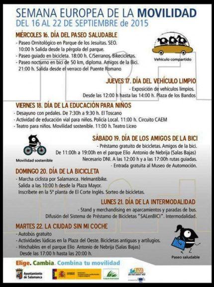 Programa Semana Europea de la Movilidad en Salamanca