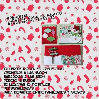 Taller de postales de Navidad de scrap en la Ludoteca Nube de Azúcar