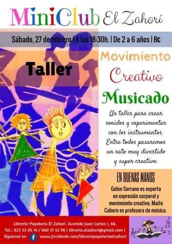Taller Infantil Movimiento Creativo Musicado con Gelen Serrano en la librería El Zahorí de Doñinos