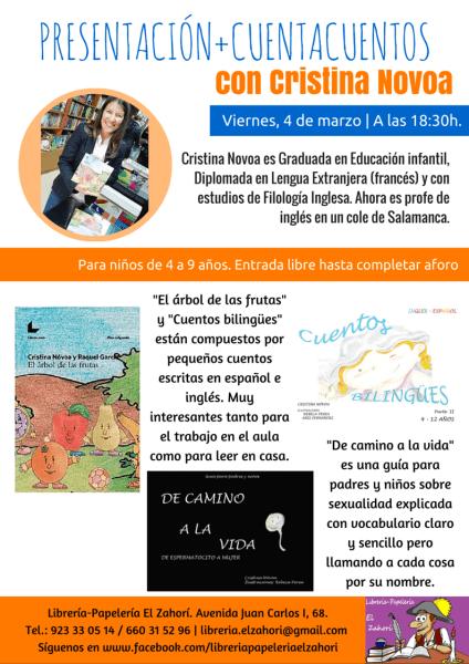 Cristina Novoa presenta sus cuentos bilingües en la librería El Zahorí de Doñinos