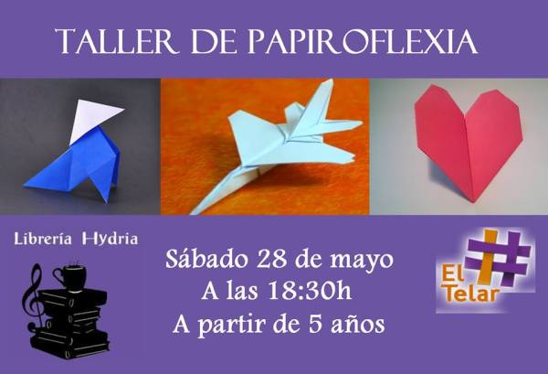 Taller de papiroflexia con El Telar en la librería Hydria-Carletes