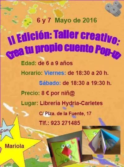 Taller infantil creativo de cuentos pop-up en la librería Carletes de Salamanca