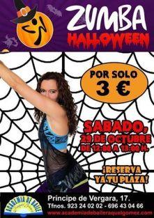 Clase de Zumba en Halloween para padres en la Academia de Raquel Gómez
