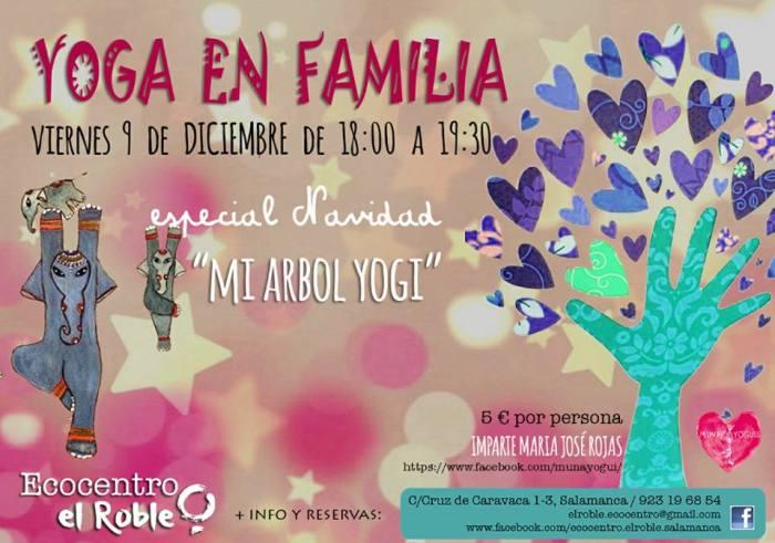 Taller de yoga en familia especial en Navidad en Ecocentro El Roble