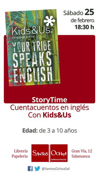 Cuentacuentos en inglés con Kids&Us en la librería Santos Ochoa