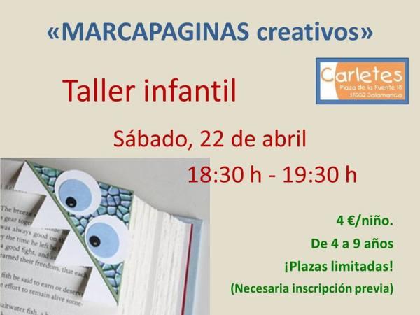 Taller infantil de marcapáginas creativos en la librería Hydria-Carletes