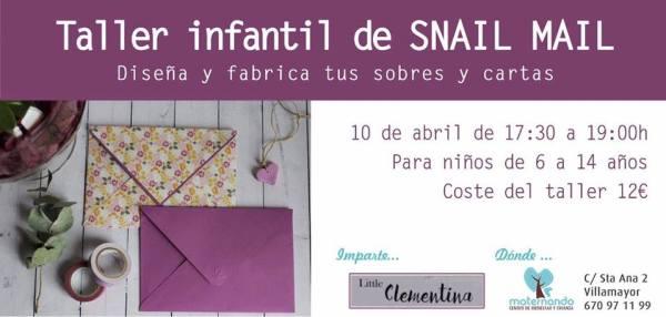 Taller infantil de snail mail en Maternando