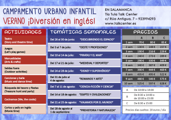 Campamento urbano en Talk Center Salamanca. Precios y actividades