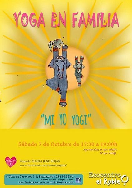Sesión de yoga en familia en el Ecocentro El Roble