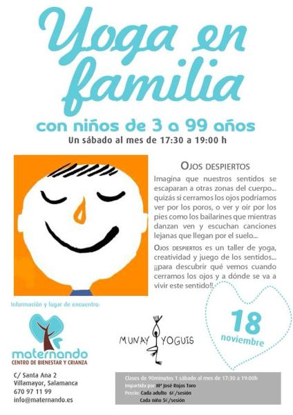 Taller de yoga en familia en Maternando con Munay Yoguis