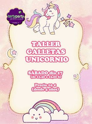 Taller infantil de galletas de unicornio en Tarty Party