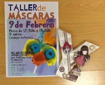 Taller de máscaras de Carnaval en la librería Yuste