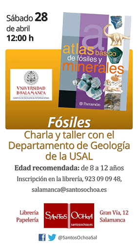 Charla-Taller para niños sobre fósiles en la librería Santos Ochoa de Salamanca