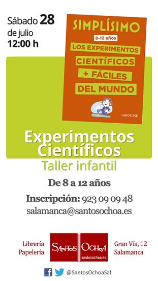 Taller infantil de experimentos científicos en Santos Ochoa