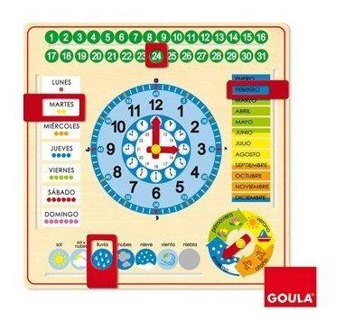 Calendario reloj de madera