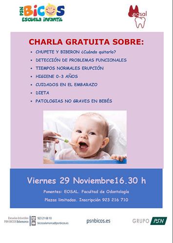 Charla gratuita en PSN Bicos sobre salud bucodental en bebés