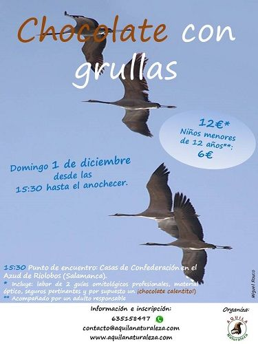 Chocolate con grullas, ruta por la naturaleza con Aquila