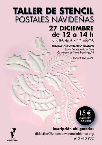 Taller de stencil: postales navideñas en la Fundación Venancio Blanco