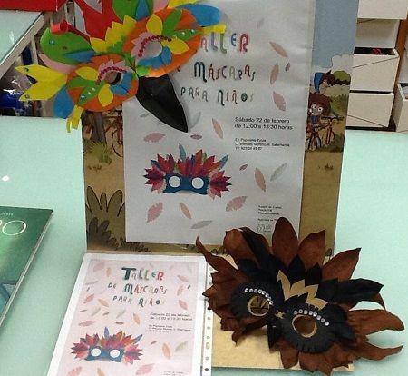Taller de máscaras para niños en la librería Yuste