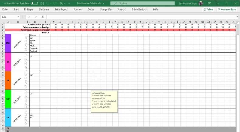 Anwesenheit in der Schule mit Excel festhalten 2