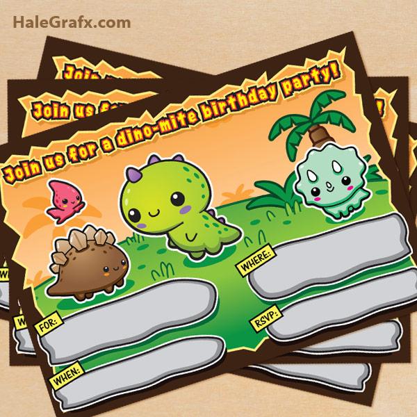 free printable kawaii dinosaur birthday