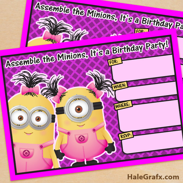 girl minion birthday invitation
