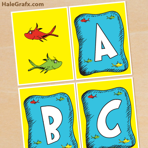 Free Printable Dr Seuss Fish Alphabet Banner Pack