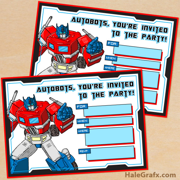 free printable g1 transformers birthday
