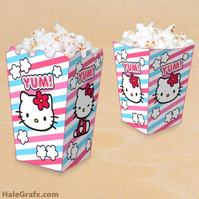 free hello kitty party printables popcorn box