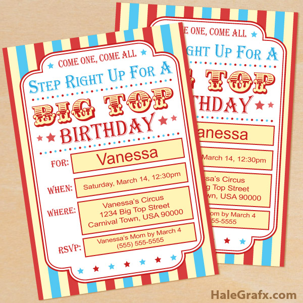 free printable circus birthday