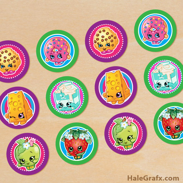 FREE Printable Shopkins Cupcake Toppers via Kara's Party Ideas and HaleGrafx.com | Mandy's Party Printables