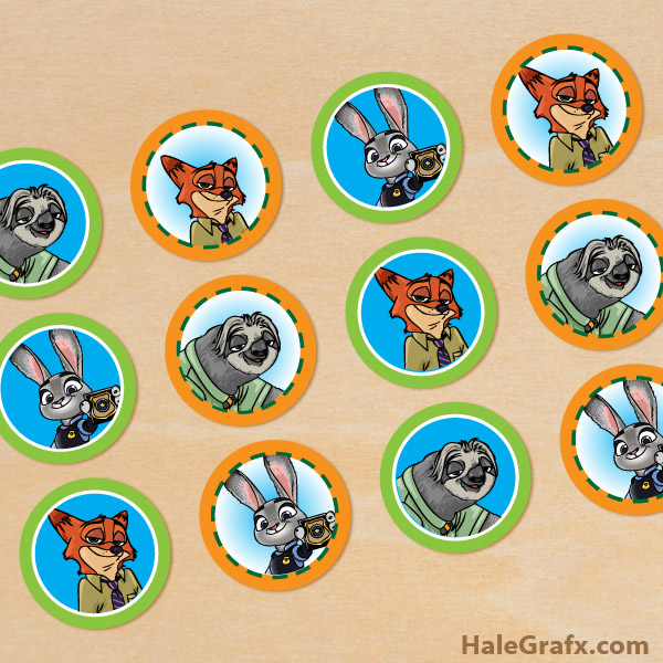 FREE Printable Zootopia Cupcake Toppers from HaleGrafx.com via Mandy's Party Printables