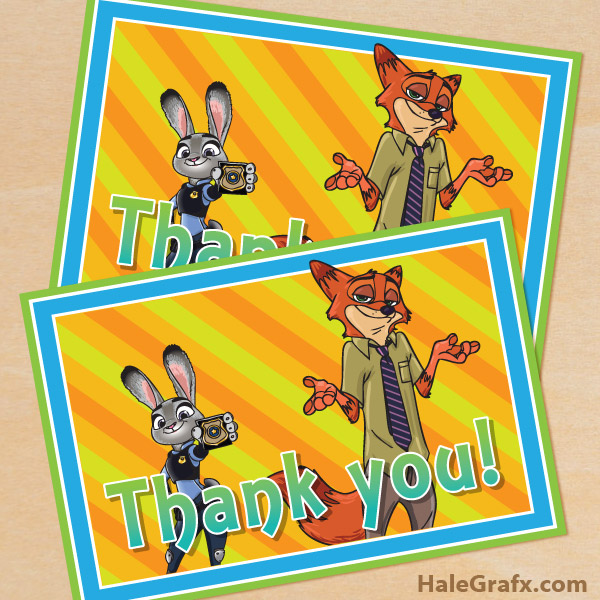 FREE Printable Zootopia Thank You Card from HaleGrafx.com via Mandy's Party Printables