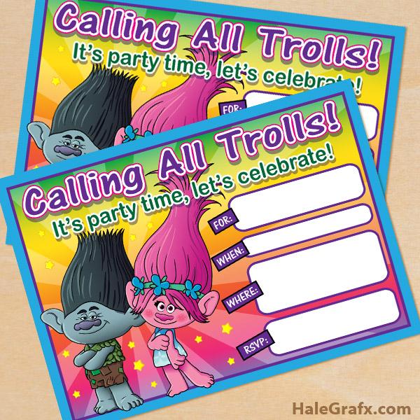 Free Printable Trolls Movie Birthday Invitation