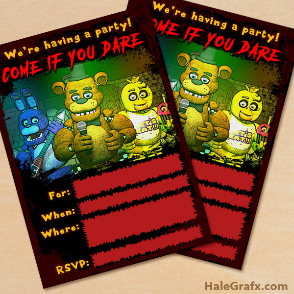 Free Printable Five Nights At Freddy S Party Invitation