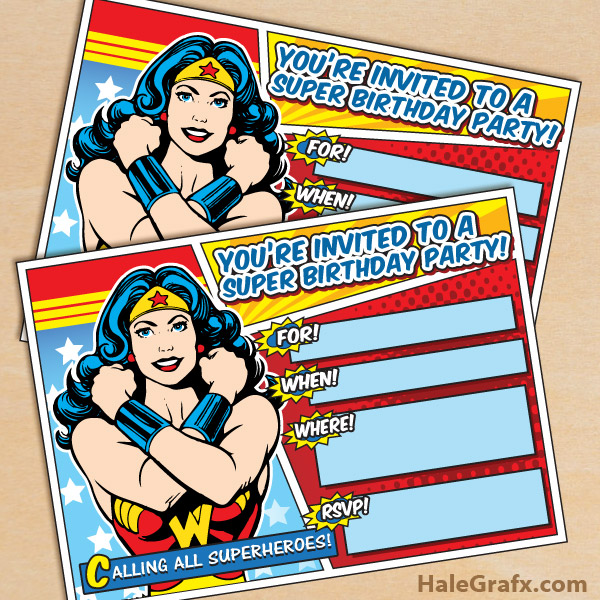 free printable wonder woman birthday
