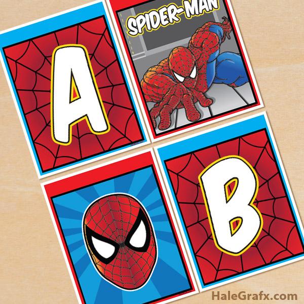 free printable spider man alphabet