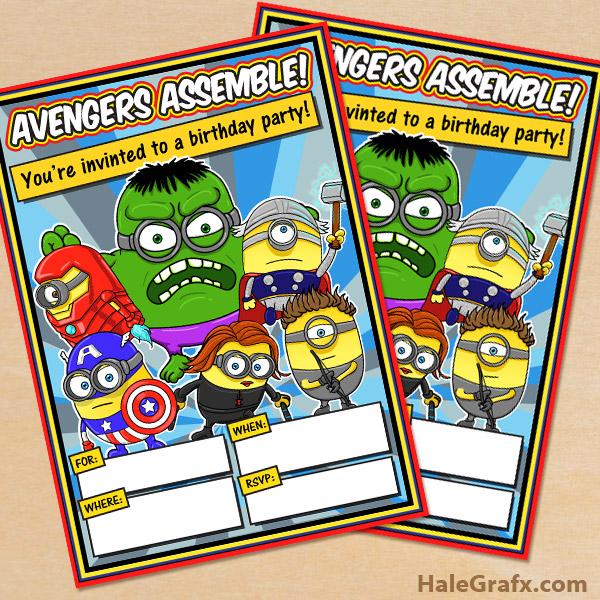 free printable minion avengers party