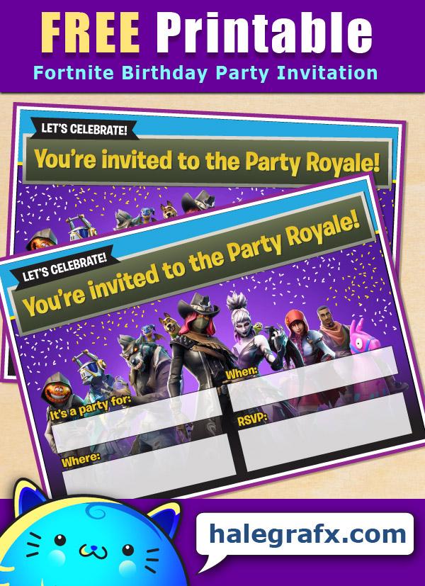 free printable fortnite birthday party