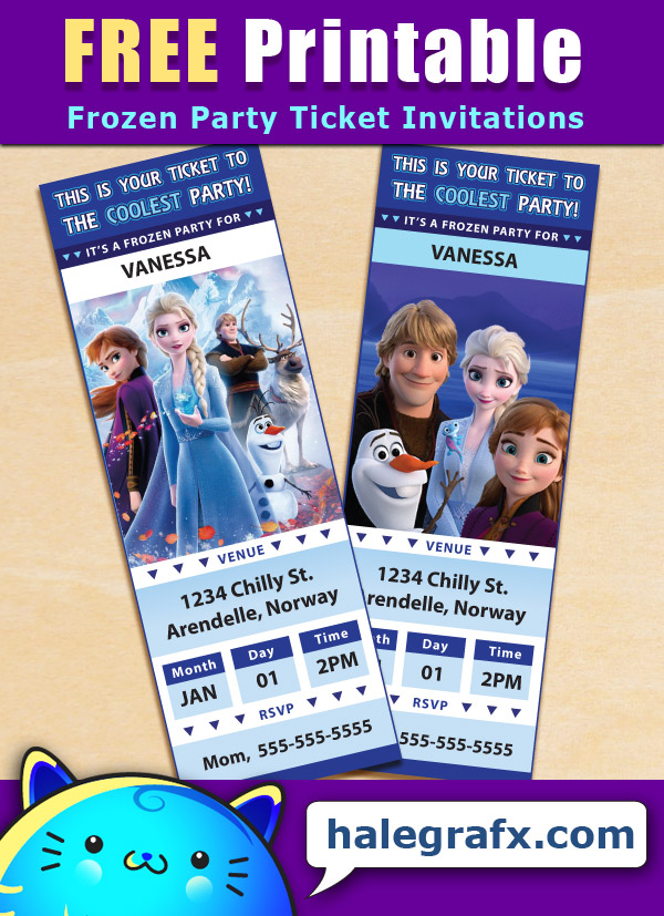free printable frozen ticket party