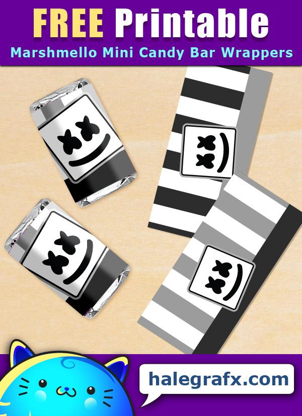 FREE Printable DJ Marshmello Mini Candy Bar Wrappers