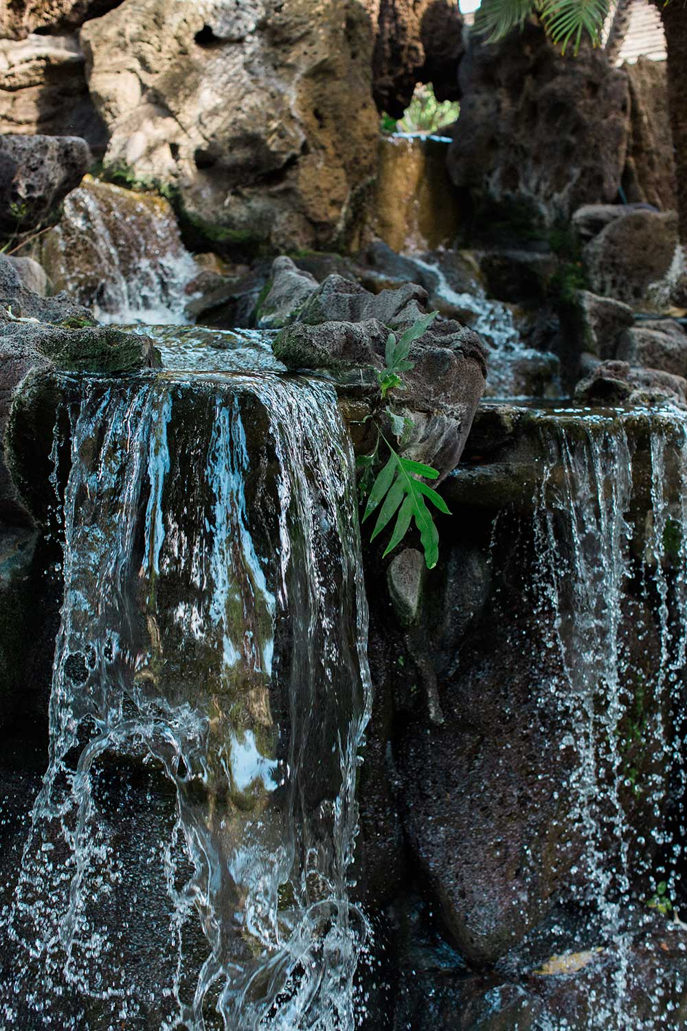 water flowing over rocks at the Willows Restaurant